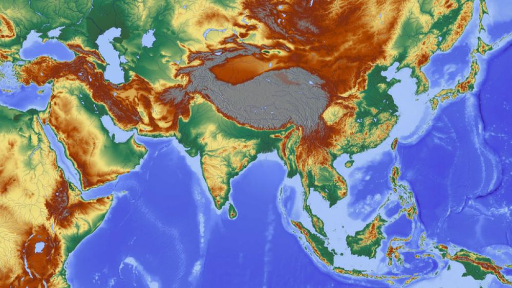 Elevation map of Asia free photo | Image Finder