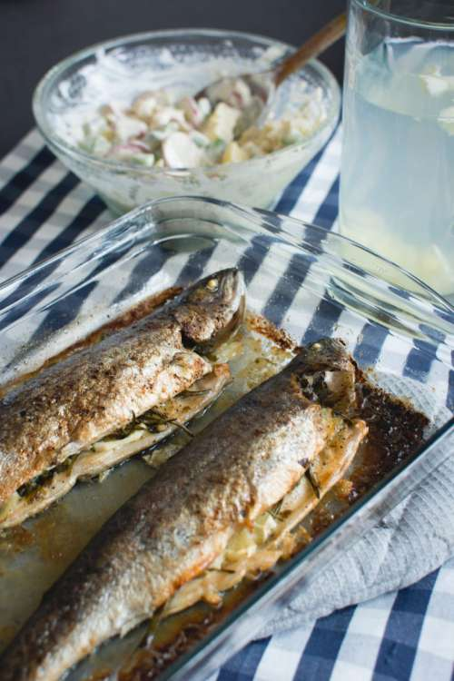 Baked fish with potato salad