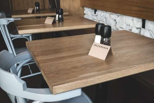 Booked table in a restaurant