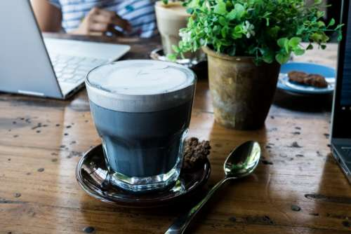 Charcoal black coffee cappuccino