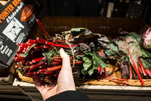 Choosing red swiss chard in a grocery store