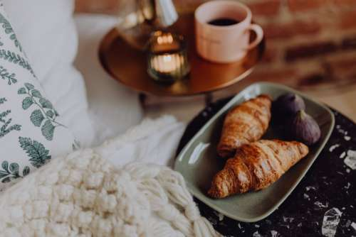 Cozy time with croissants and figs