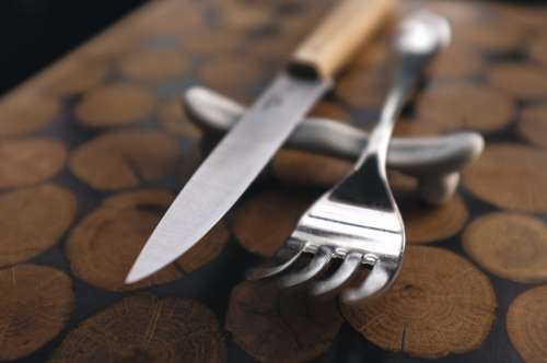 Fork and steak knife close up