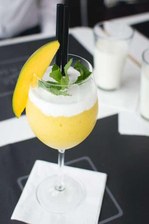 Frozen mango drink in a restaurant