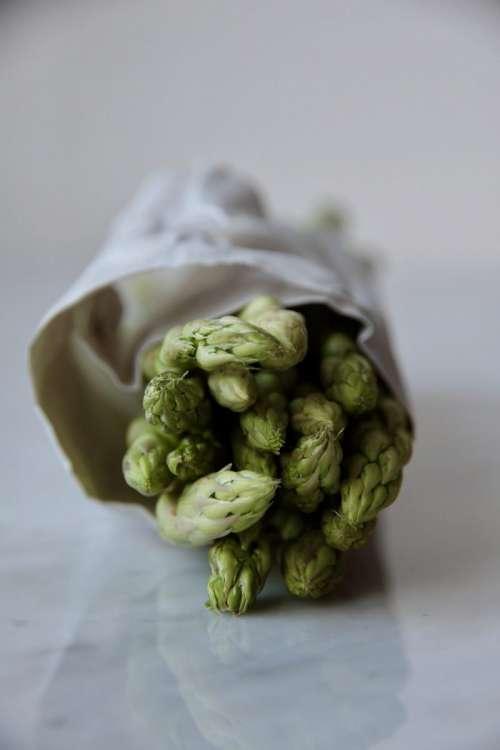 Fresh green asparagus close up