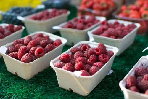 Raspberries at a market