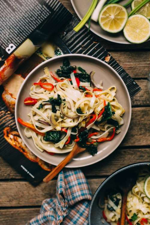 Rice noodles with roasted vegetables