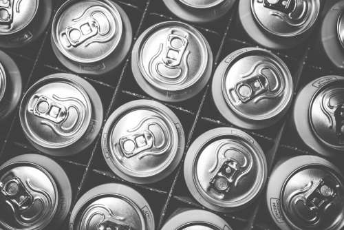 Soda cans black and white