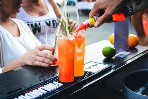 Summer alcoholic drinks at the bar