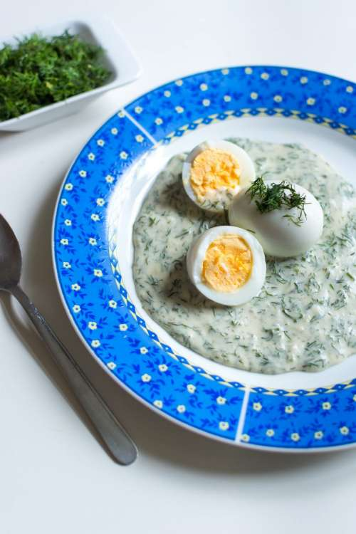 Traditional Czech dill gravy with eggs
