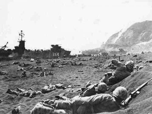 1st Battalion 23rd Marines at Yellow Beach at Iwo Jima, World War II free photo