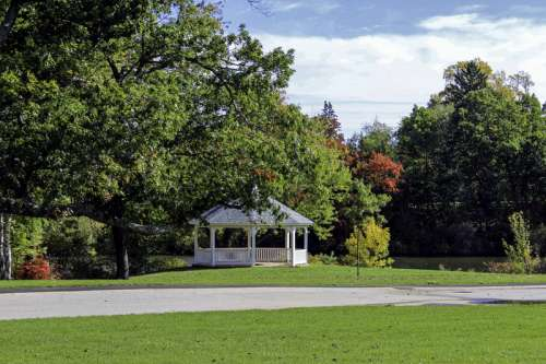 Gazebo and landscape with trees in Providence, Rhode Island free photo