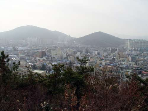 Jeongeup seen from Seonghwangsan in South Korea free photo