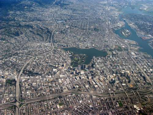 Aerial view of center of Oakland, California free photo