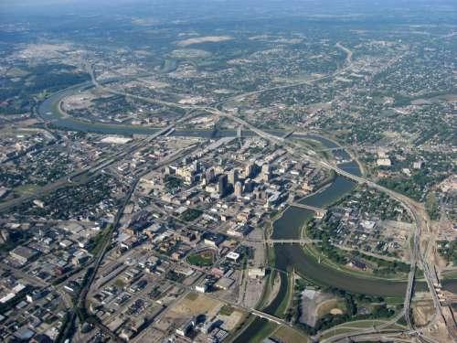 Aerial view of Downtown Dayton, Ohio free photo