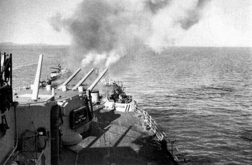Aft turret of the U.S. Navy heavy cruiser USS Toledo during the Korean War free photo