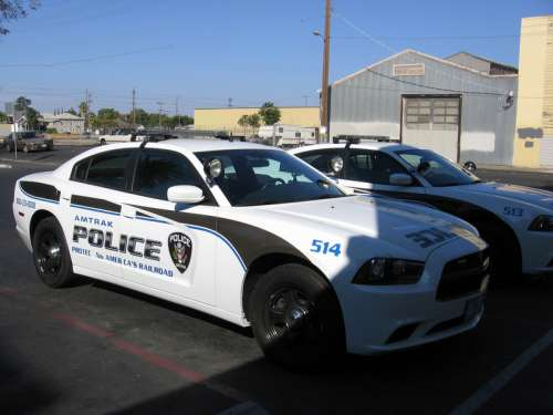 Amtrak Police cars at the Stockton – San Joaquin Street Station in California free photo