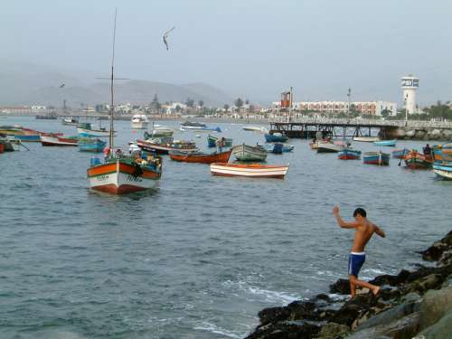 Ancon Harbor with Boats on the water in Peru free photo