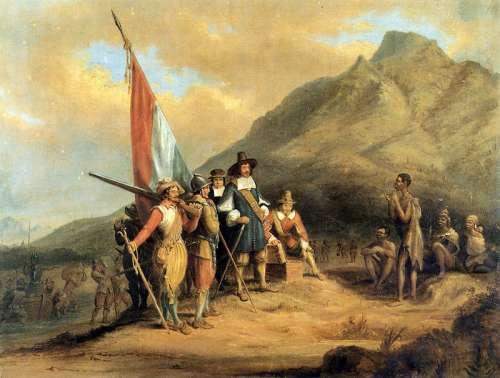 Arrival of Jan van Riebeeck in Table Bay in Cape Town, South Africa free photo