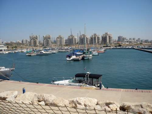 Ashdod Marina with skyline in the background in Israel free photo
