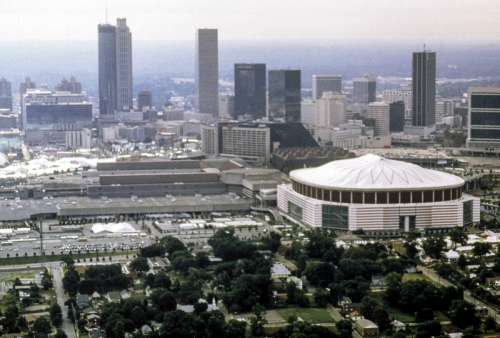 Atlanta skyline with Olympic-sports-complexes in Georgia free photo