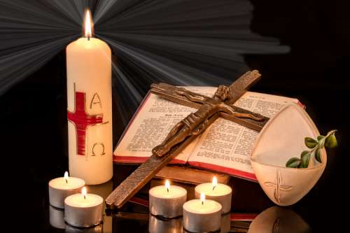 Bible, Candle, and Cross free photo