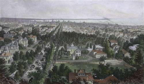 Bird's-eye view of Buffalo in 1873 in New York free photo