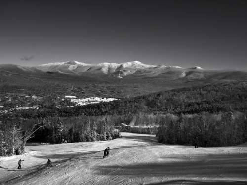 Black and White Winter landscape with mountains in New Hampshire free photo