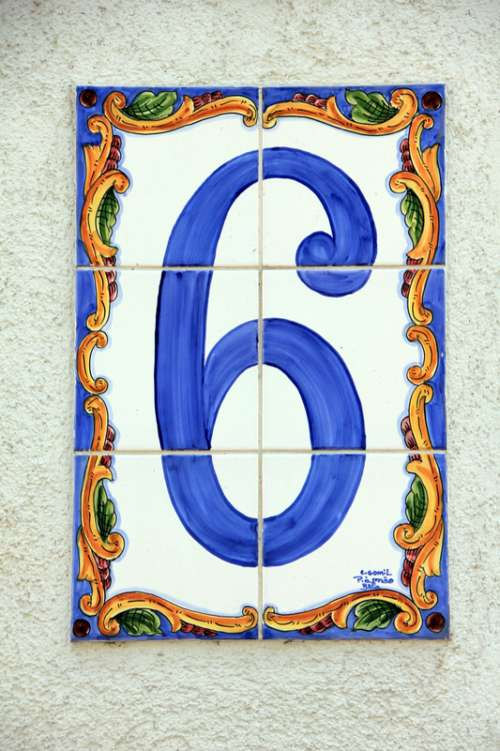 Blue 6 decorated on tiles free photo