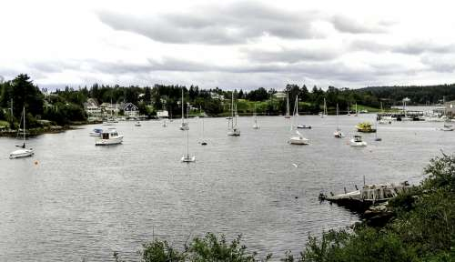 Boats in the River at Hubbards, Nova Scotia, Canada free photo