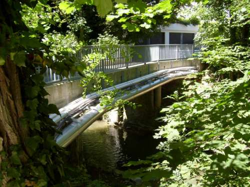 Bridge and river in Lancy in Switzerland free photo