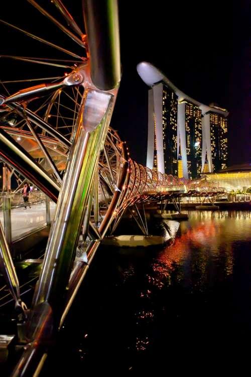Bridge architecture at Night in Singapore free photo