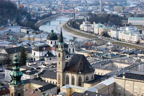 Cityscape of Salzburg, Austria with buildings, Architecture, and river free photo