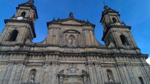 Close-up of the Cathedral in Bogota, Colombia free photo
