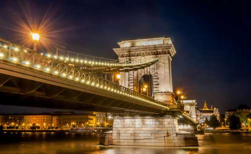 Closeup of the Bridge at night with the lights in Budapest, Hungary free photo