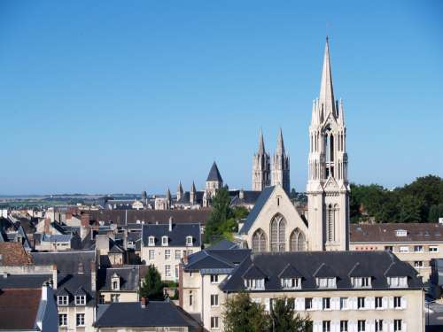 Downtown Caen and the Abbey of St. Étienne in France free photo