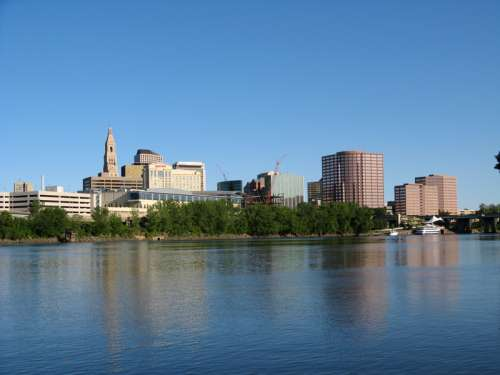 Downtown Skyline beyond the lake in Hartford, Connecticut free photo