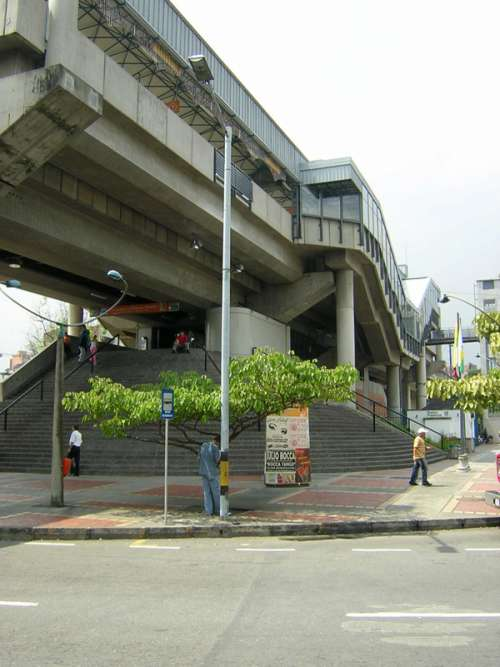 Estadio station and overhead bridge in Medellin, Colombia free photo