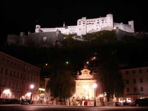 Festung Hohensalzburg with Kapitel Square in the Background in Salzburg, Austria free photo
