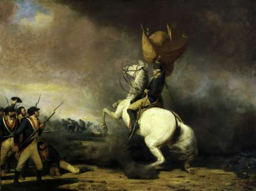 George Washington rallying his troops at the Battle of Princeton in New Jersey free photo