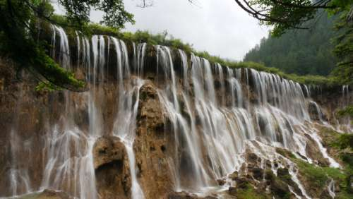 Huanglong Waterfalls in Sichuan, China free photo