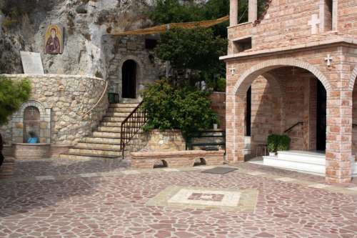 Inside the monastery of St Patapius in Loutraki, Greece free photo