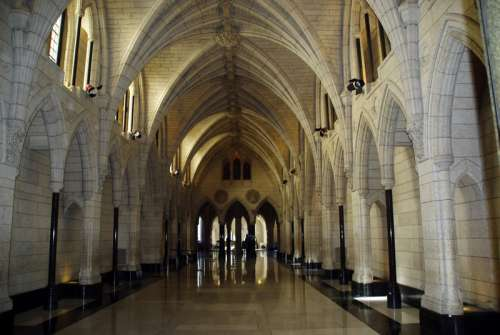 Interior Corridors of the Parliament Building in Ottawa, Ontario, Canada free photo