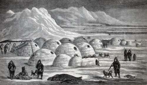Inuit village near Frobisher Bay, 1865 in Nunavut, Canada free photo