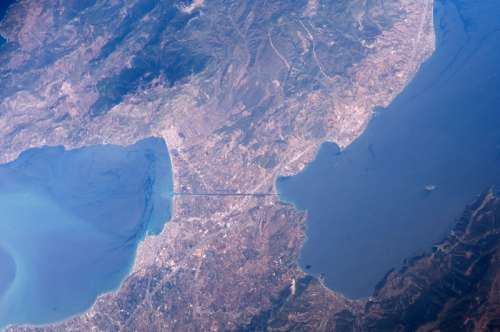 Isthmus of Corinth from space in Greece free photo