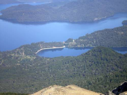 Lago Correntoso lake landscape in Nahuel Huapi National Park, Argentina free photo