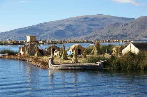 Lake Titicaca and Floating Island in Peru free photo