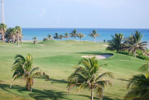 Landscape of a golf course in Jamaica free photo