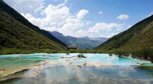Landscape of Goddess Lake in Jiuzhaigou in Sichuan, China free photo