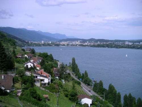Landscape of Lake Biel in Switzerland free photo
